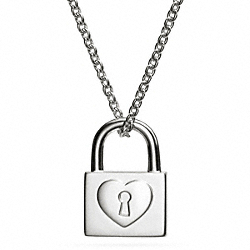 COACH STERLING PADLOCK NECKLACE - SILVER/SILVER - F99585