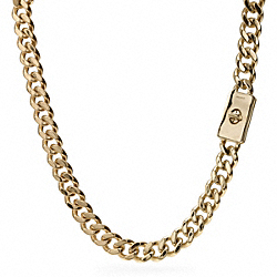 COACH CURBCHAIN SHORT TURNLOCK NECKLACE - GOLD - F99601