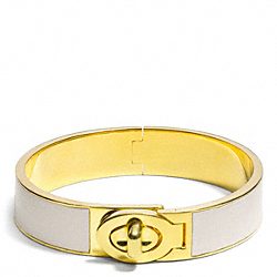 COACH HALF INCH HINGED LEATHER TURNLOCK BANGLE - GOLD/PARCHMENT - F99628