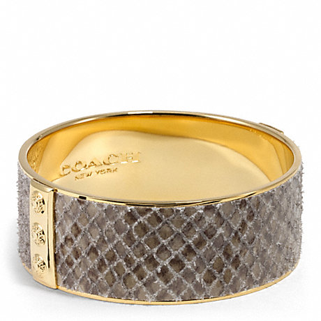 COACH LEATHER PYTHON INLAID BANGLE - GD/BUFF - f99649