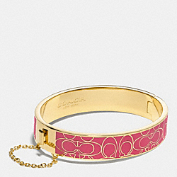 SIGNATURE C METAL ENAMEL CHAIN HINGED BANGLE - GOLD/LOGANBERRY - COACH F99679