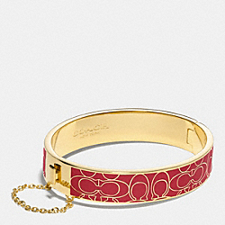 COACH SIGNATURE C METAL ENAMEL CHAIN HINGED BANGLE - GDRED - F99679