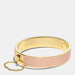 SIGNATURE C METAL ENAMEL CHAIN HINGED BANGLE - f99679 -  LIGHT GOLD/ROSE PETAL