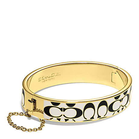 COACH f99680 SIGNATURE C CHAIN HINGED BANGLE GOLD/BLACK/WHITE