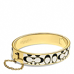 COACH SIGNATURE C CHAIN HINGED BANGLE - GOLD/BLACK/WHITE - F99680