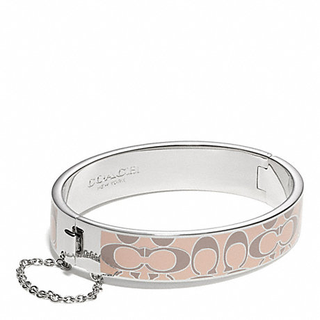 COACH SIGNATURE C CHAIN HINGED BANGLE - SILVER/PINK - f99680