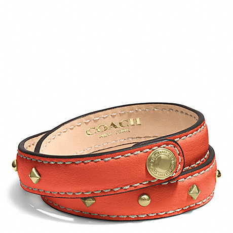 COACH STUDDED LEATHER WRAP BRACELET - GOLD/HOT ORANGE - f99687