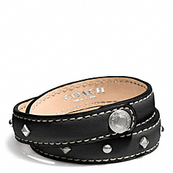 COACH STUDDED LEATHER WRAP BRACELET - SILVER/BLACK - F99687
