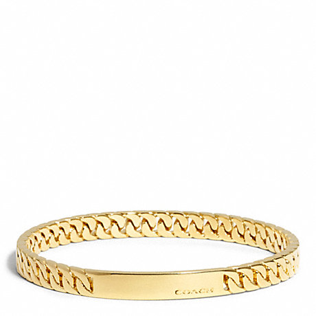 COACH f99695 CURBCHAIN PLAQUE BANGLE GOLD
