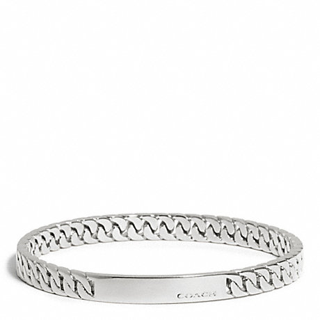 COACH CURBCHAIN PLAQUE BANGLE - SILVER - f99695