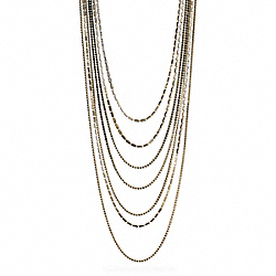 LONG TIERED CUPCHAIN PAVE NECKLACE - GOLD/BLACK - COACH F99705