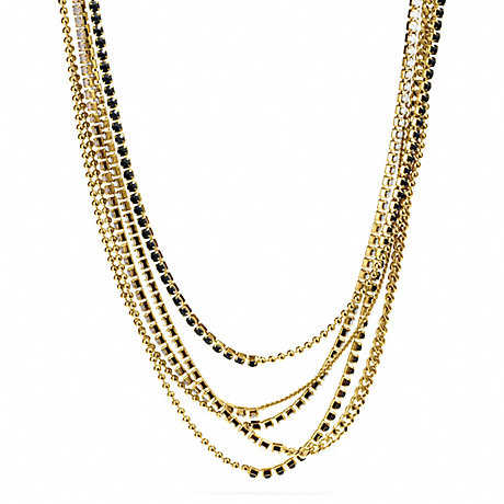 COACH MIXED CUPCHAIN NECKLACE - GOLD/BLACK - f99721