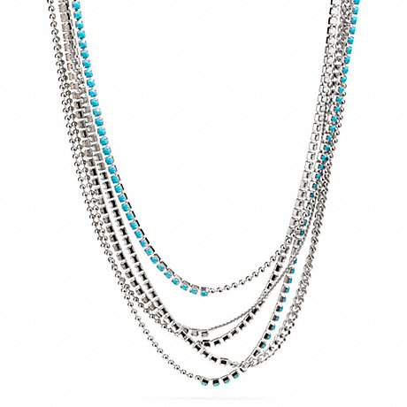 COACH MIXED CUPCHAIN NECKLACE - SILVER/BLUE - f99721