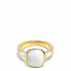 CUSHION CUT STONE RING - GOLD/WHITE - COACH F99723