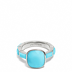 COACH CUSHION CUT STONE RING - SILVER/BLUE - F99723