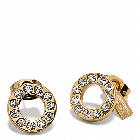 COACH PAVE STUD EARRING - GOLD/GOLD - f99734
