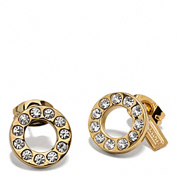 PAVE STUD EARRING - f99734 - GOLD/GOLD