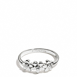 COACH STERLING FLOWERS RING - SILVER/CLEAR - F99764