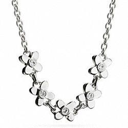 COACH STERLING FLOWERS NECKLACE - SILVER/CLEAR - F99770