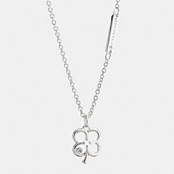 COACH STERLING SIGNATURE C CLOVER NECKLACE - SILVER/CLEAR - F99779