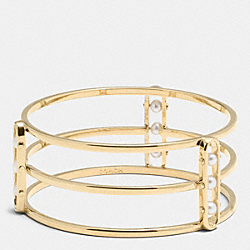 COACH PEARL ID WIDE BANGLE - GOLD/WHITE - F99781