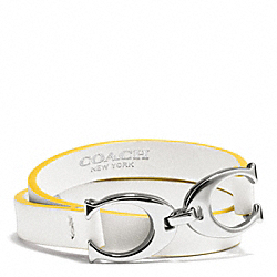 COACH TWIN SIGNATURE C DOUBLE WRAP LEATHER BRACELET - SILVER/YELLOW/WHITE - F99792