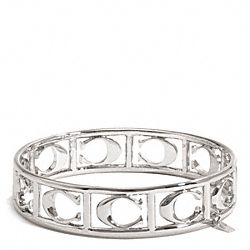 COACH PIERCED SIGNATURE C BANGLE - SILVER - F99794