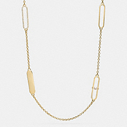 COACH PEARL AND PAVE ID STATION NECKLACE - GOLD/WHITE - F99830