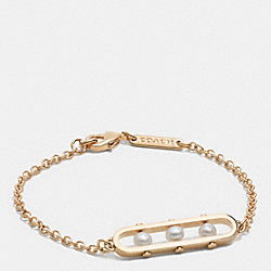 COACH THREE PEARL ID BRACELET - GOLD/WHITE - F99852