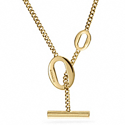 LONG OVAL LINK NECKLACE - f99854 -  GOLD