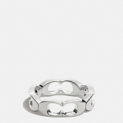 COACH SIGNATURE C LINK RING - SILVER - F99861