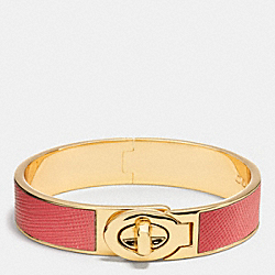 HALF INCH HINGED SAFFIANO LEATHER TURNLOCK BANGLE - f99864 - GDD0F