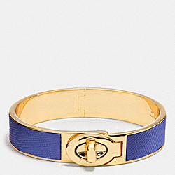 COACH HALF INCH HINGED SAFFIANO LEATHER TURNLOCK BANGLE - LIGHT GOLD/LACQUER BLUE - F99864
