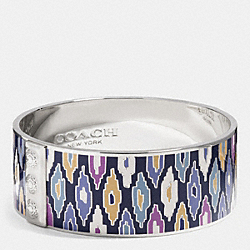 COACH ONE INCH IKAT PRINT BANGLE - SILVER/LACQUER BLUE - F99867