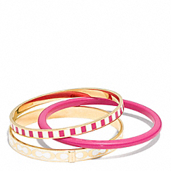 SIGNATURE C STRIPE BANGLE SET - BRASS/PINK RUBY - COACH F99886