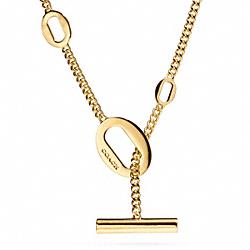 COACH SHORT OVAL LINK NECKLACE - GOLD - F99896