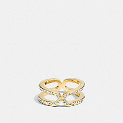 PAVE ID RING - f99959 - GOLD/CLEAR