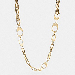 COACH MIXED SIGNATURE C CHAIN LONG NECKLACE - GOLD - F99960