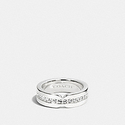 COACH PAVE ID BAND RING - SILVER/SILVER - F99962