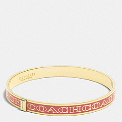 THIN COACH LETTER LOGO BANGLE - GOLD/LOGANBERRY - COACH F99983