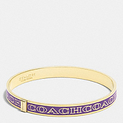 THIN COACH LETTER LOGO BANGLE - LIGHT GOLD/VIOLET - COACH F99983