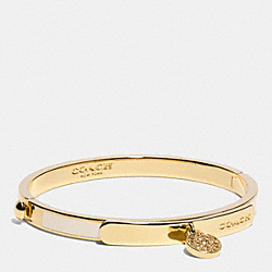 COACH THIN LOGO CHARM BANGLE - LIGHT GOLD/MILK - F99985