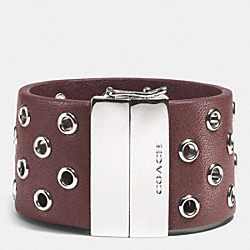 COACH HINGED LEATHER GROMMET BANGLE - SILVER/BRICK - F99991