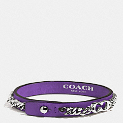 COACH SIGNATURE C CHAIN LEATHER BRACELET - PURPLE IRIS - F99992