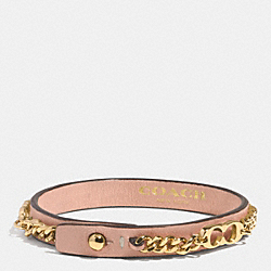 COACH SIGNATURE C CHAIN LEATHER BRACELET - GOLD/ROSE PETAL - F99992