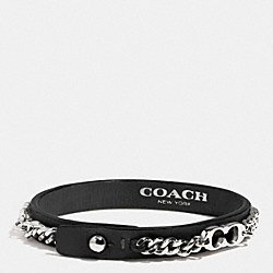 COACH SIGNATURE C CHAIN LEATHER BRACELET - SILVER/BLACK - F99992