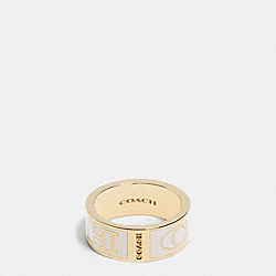 COACH LETTER LOGO ENAMEL RING - LIGHT GOLD/MILK - COACH F99994
