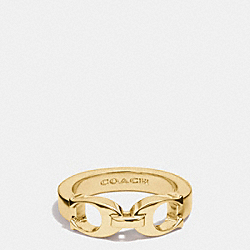COACH SIGNATURE C LINK RING - GOLD - F99995