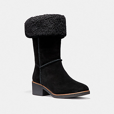 COACH TURNLOCK SHEARLING BOOT - BLACK - fg1011