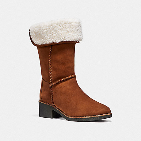 COACH TURNLOCK SHEARLING BOOT - SADDLE - fg1011